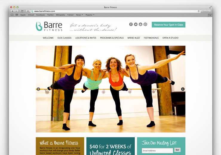 Barre Fitness Website