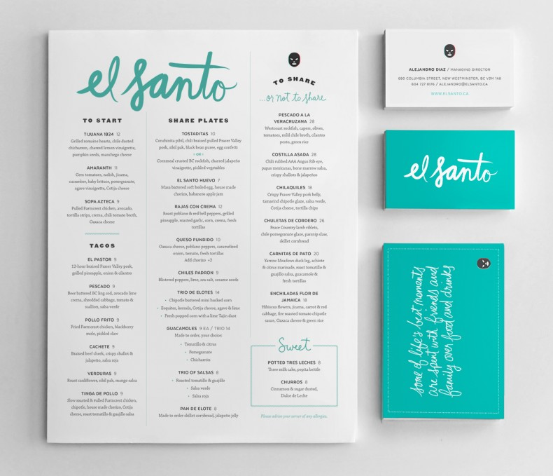 El Santo Branding & Menu design